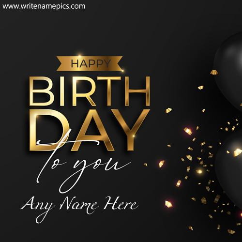 Happy birthday black and golden card with name