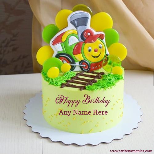 Happy birthday cute train image cake with name