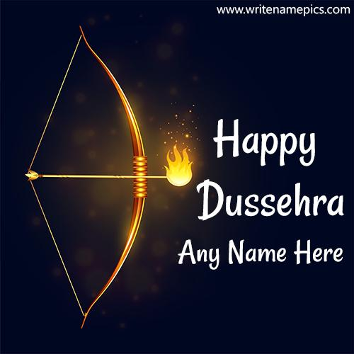 Happy dussehra greeting card with name