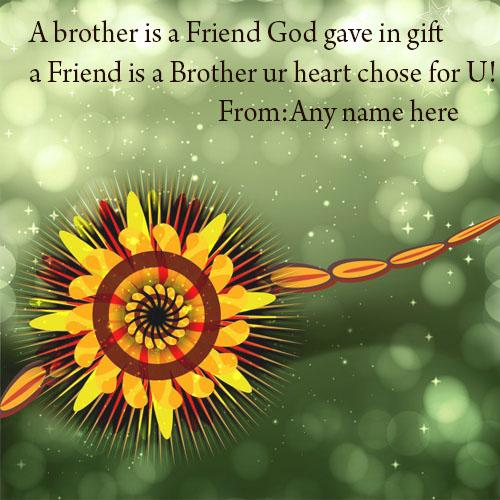 Happy raksha bandhan wishes quotes greeting card with name