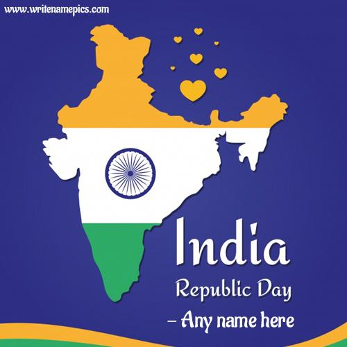 Independence day greeting card with name pic