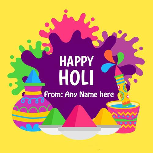 Indian holi festival greeting card with name photo