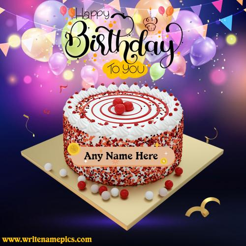 Latest happy birthday cake with name edit