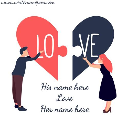 Lovely Heart and Couple Image with Couple Name Editor