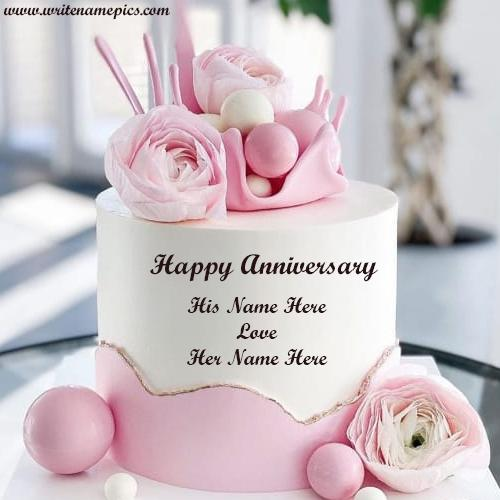 Lovely Pink Rose Cake for Anniversary with Name Pic