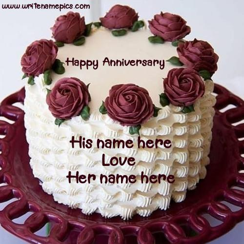 Lovely Red Rose Cake For Anniversary with Name