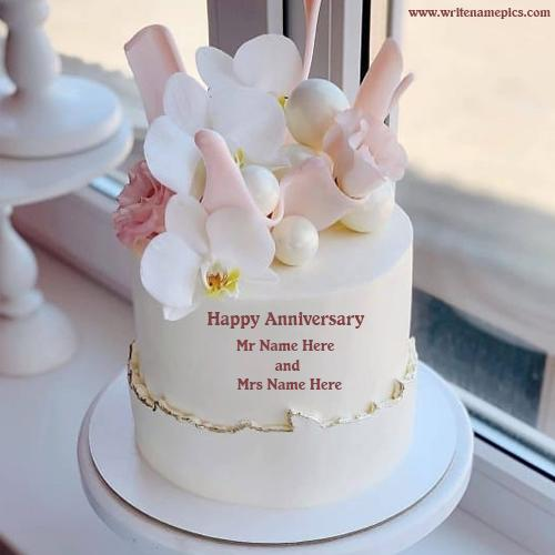 Make Anniversary Wishes Cake With Mr and Mrs Name