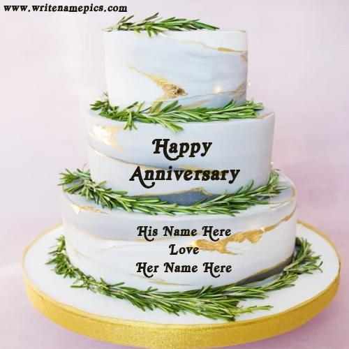 Make Happy Anniversary Cake with Name Greeting