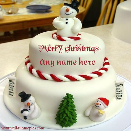 Merry Christmas Cake with Name Image