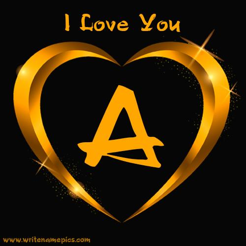 Online Alphabet with Love you card with Shining Golden heart