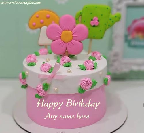 Online Happy Birthday wishes cake with Name
