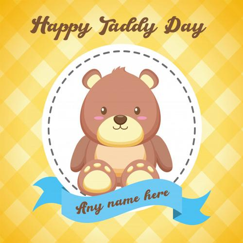 Online Happy Teddy Day Card with name For Free