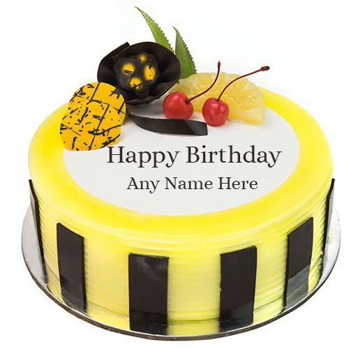 Online Write Name On Pineapple Birthday Cake Images