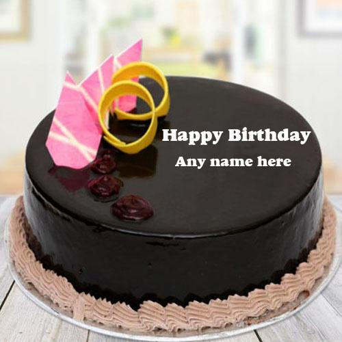 Online Write Name On Round Shape Chocolate Pink Designer Cake