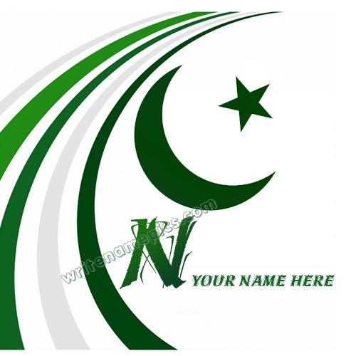 Pakistan Flag with N Alphabet name Whatsapp Profile picture