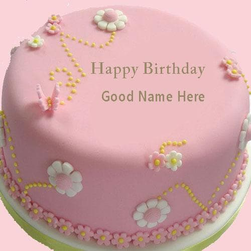 Pink Happy Birthday Cake With Name