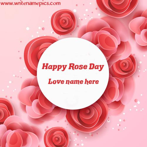 Pink Rose greeting Card with love name