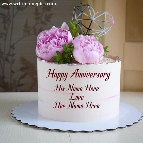Pink Rose happy Anniversary Cake with Name