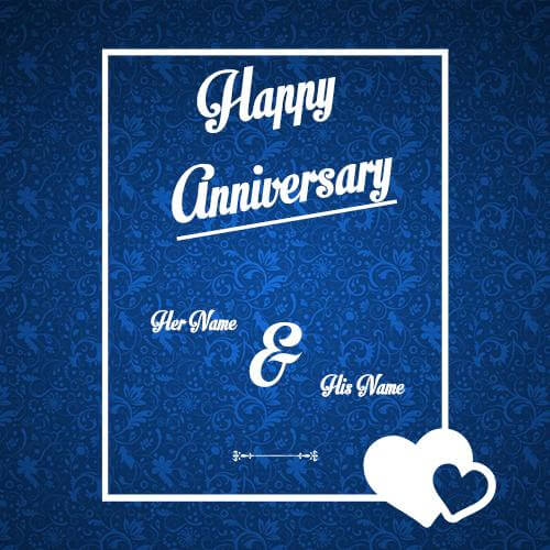 Print His And Her Name Anniversary Greeting Card