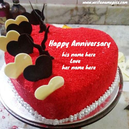 Red Velvet heart shape anniversary cake with name