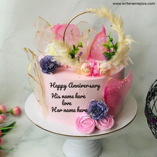 Romantic Happy Anniversary Cake with Couple Name