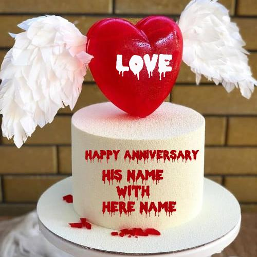 Romantic Red Love Bird Anniversary Cake with name