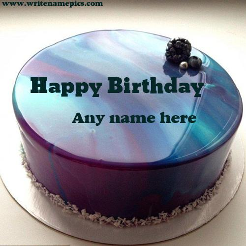 Royal Blue Happy birthday cake with name photo