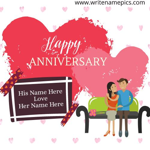 Sending Happy Anniversary Card with Couple Name