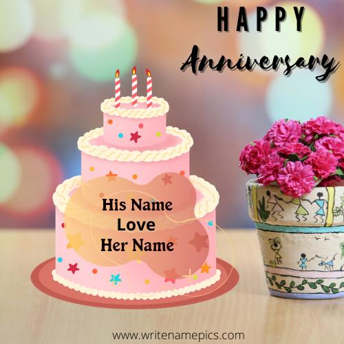 Special Anniversary cake with Couple name free Edit