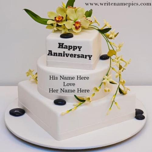Special Happy Anniversary Cake with couple Name
