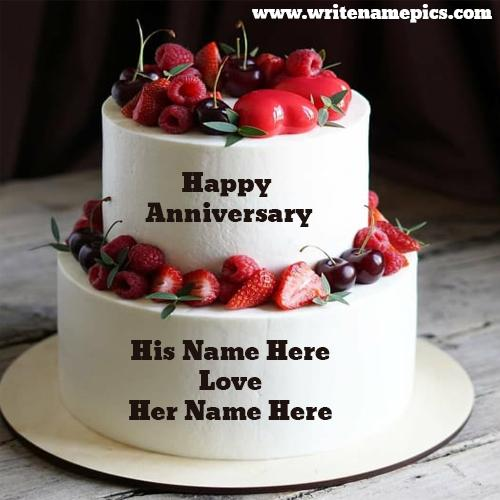 Strawberry Anniversary Cake with Couple Name Edit
