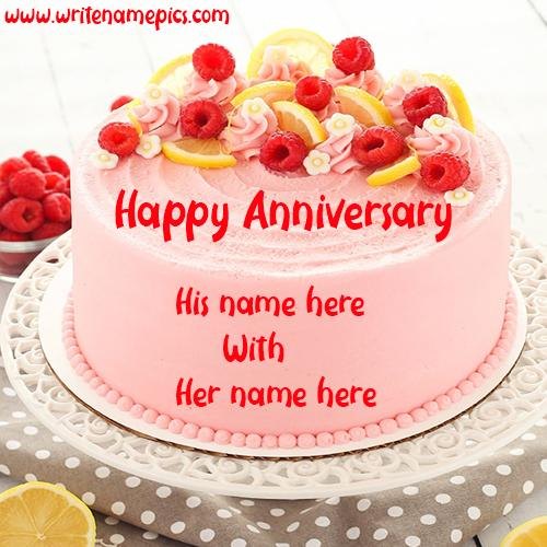 Strawberry Couple Special Anniversary cake with name