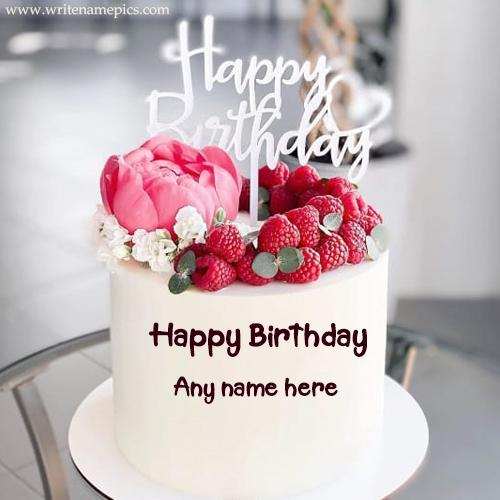 Sweet Raspberry Birthday Cake with Name Editor