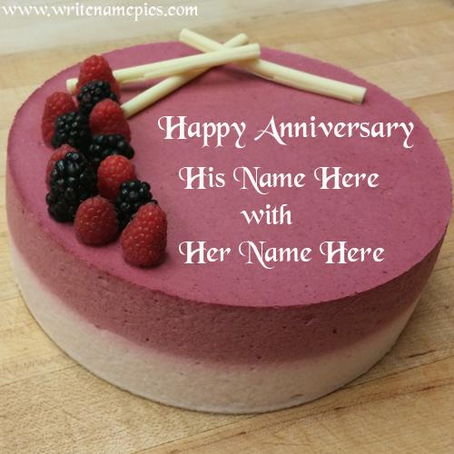 Wedding anniversary cake with name image