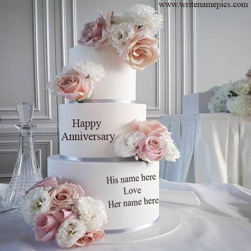 White Flowers Tier Anniversary Cake with Name Online Editor