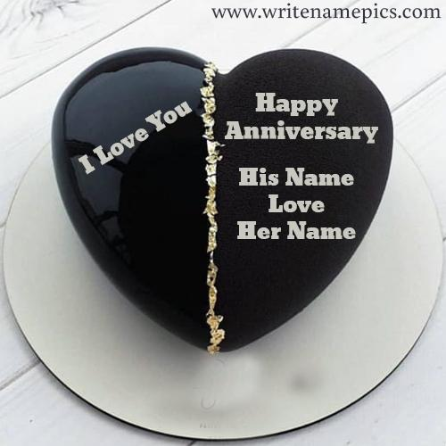Write Couple Name on Happy Marriage Anniversary cake Pic