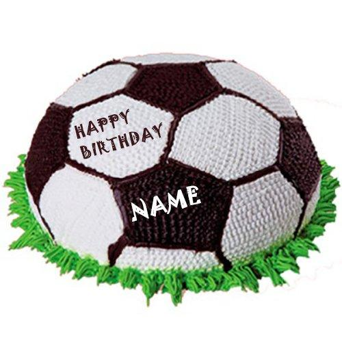 Write Name Football Happy Birthday Cake