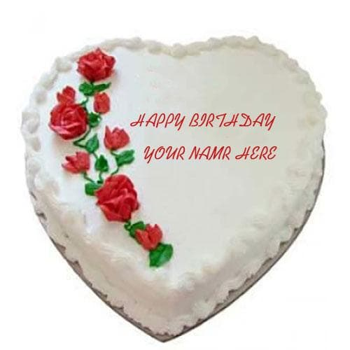 Write Name On Rose Heart Cakes