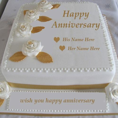 Write Name On Anniversary Cake Images : happy anniversary cake with couple name editor