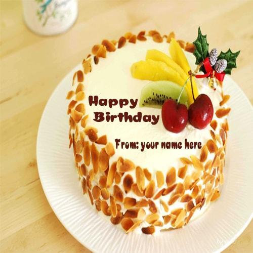 Write Name on Beautiful fruit Birthday cake pictures free