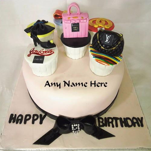 Write Name on stylish birthday cake for Girls images free HBD Wishes