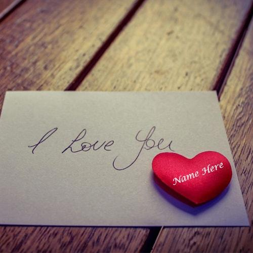 Write Your Lover Name On Red Heart Greeting Card
