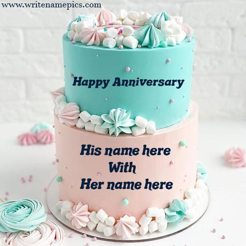 Write a name of couple on Anniversary Cake Online
