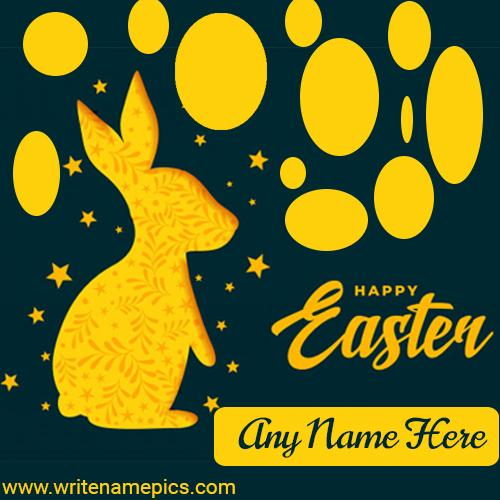 Write a name on Happy Easter Day card
