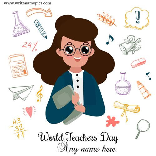 Write a name on World Teachers Day Card