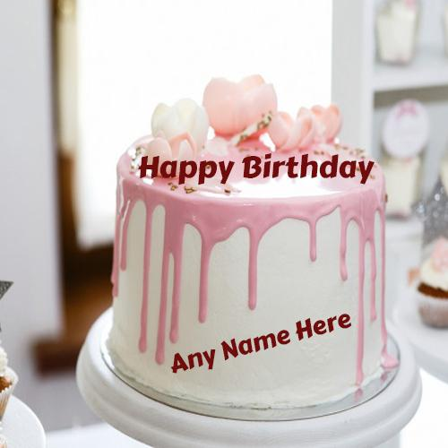 Write name On happy Birthday beautiful flowers cake images free