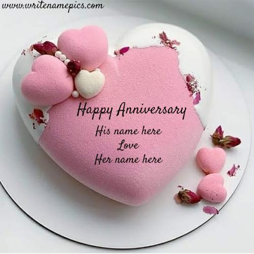 Write name of couple on this love Anniversary Cake image