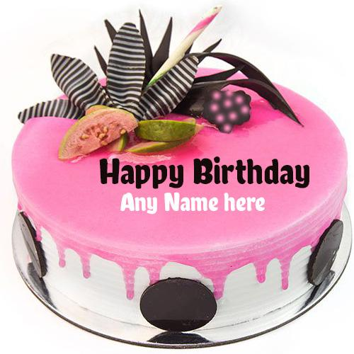 Write name on New Pink Guava birthday cake greetings images