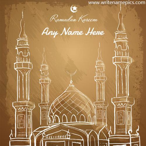 Write name on Ramadan Mubarak wish cards