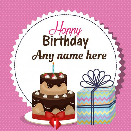 Write name on birthday wishes cake with gift greeting cards